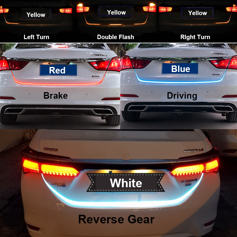 Ice Blue Red Yellow White LED Strip Lighting Rear Trunk <font><b>Tail</b></font> Light Dynamic Streamer Brake Turn Signal Reverse Leds Warning Light