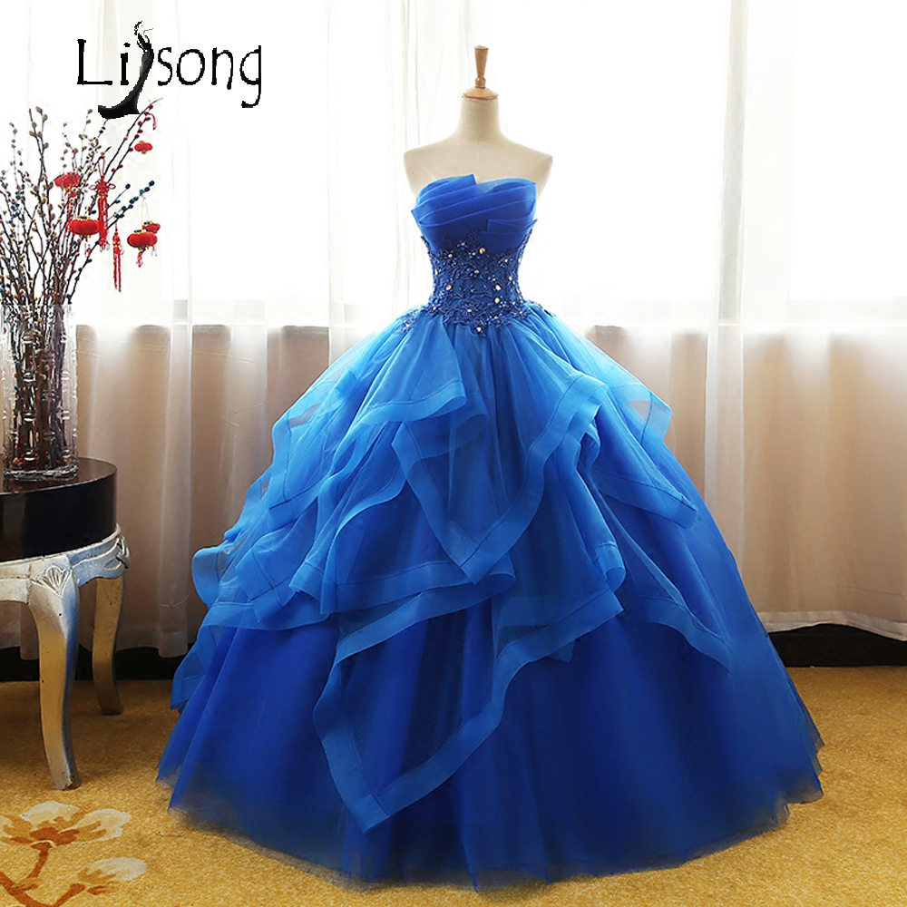 72f5dca0dc964 ... Prom Dresses With Ruffle Beading Sequins. Royal Blue Strapless Evening  Dress Long Floor Length Ball Gowns Dream Unique Princess Formal Gown Women