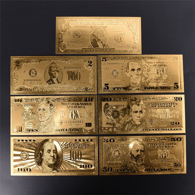 7pcs Gold Banknotes Banknotes in Gold Plated Paper Money For Collection 15*7 cm/5.91*2.76in 2