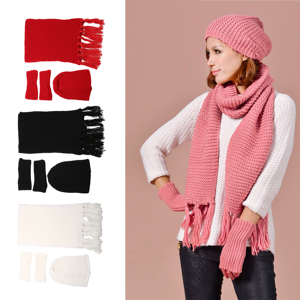 Thick Acrylic Winter Women Knit Hat Scarf Gloves Set Outdoor Beanie Winter Warm Female Girls 3pc Sets Solid Hat Scarf Gloves