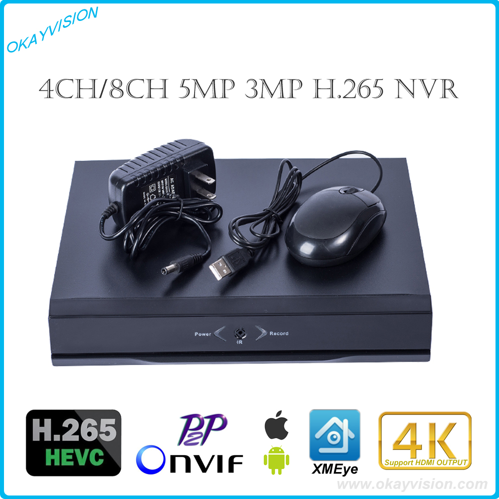 4K OUT 4CH/8CH H.265 P2P Onvif 5MP 3MP Network Video Recorder for H.265 IP Cameras,FULL HD H.265 NVR P2P Cloud Service XM xmeye free shipping 1080p array ip cameras 8ch onvif full hd 48v real poe nvr p2p cloud service