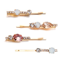 Best lady New Bohemian Glass Crystal Hair Pins Clips for Women Girls Za Jewelry Wedding Gift 8 Designs Trendy Barrette Bobby Pin