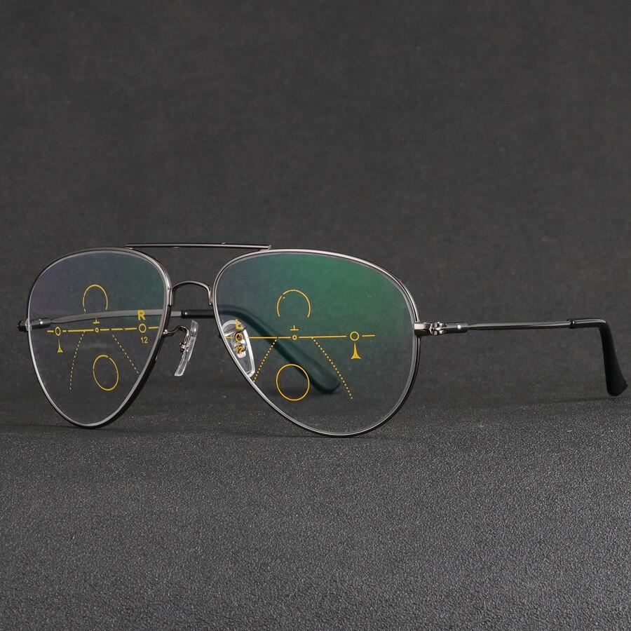 Comprar Gafas De lectura De lentes multifocales progresistas De marca  CHASHMA para hombre lentes De presbicia hiperopía bifocales De titanio  Oculos De Grau ... 39717afabc