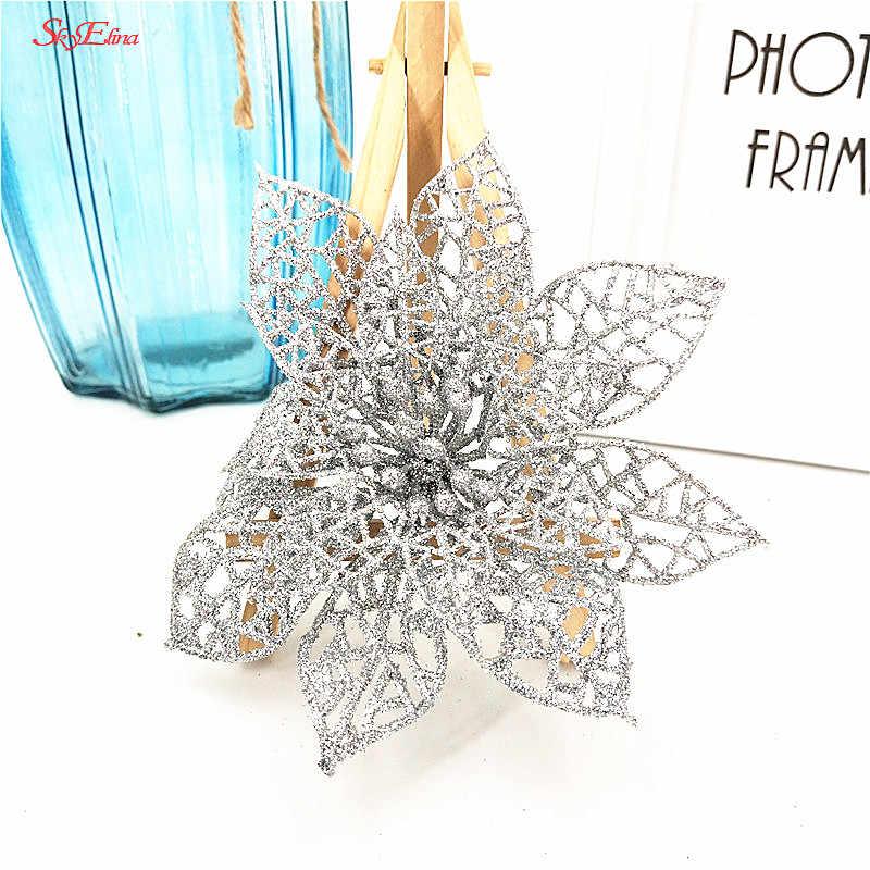 Hot 10Pcs 15CM Glitter ประดิษฐ์ต้นคริสต์มาสเครื่องประดับตกแต่งคริสต์มาสสำหรับตกแต่งบ้านสำหรับคริสต์มาสของขวัญ 7Z