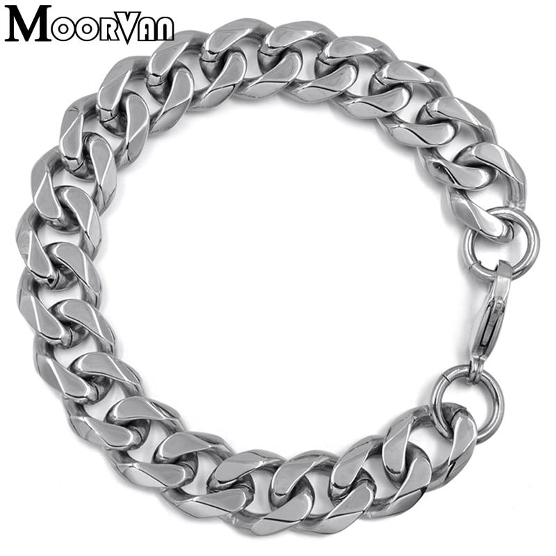 Moorvan Jewelry Men Bracelet Cuban links & chains Stainless Steel Bracelet for Bangle Male Accessory Wholesale B284 37