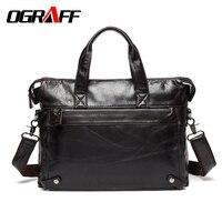OGRAFF Genuine Leather Bag Men Messenger Bags Brand Briefcase Cowskin Crossbody Bag Men S Handbags Cow