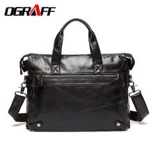 OGRAFF Männer Handtaschen Aktentasche Aus Echtem Leder Tasche Mannkurierbeutel Business Laptop Einkaufstasche Leder Schulter Crossbody-tasche Männer