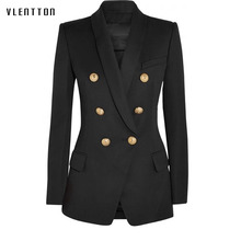 Long blazer woman Spring autumn 2019 new jacket ladies blazer head metal button double breasted Casual long sleeve blazer women color block double button mens casual blazer
