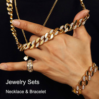 Mens Hip Hop Jewelry Sets Miami Cuban Link Chain Necklace Bracelets Gold Tone Bling Rhinestones Iced