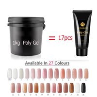 Poly Gel 1kg Polygel French Nail Art Crystal Transparent Nail Camouflage Jelly Color UV LED Nail Build Extending