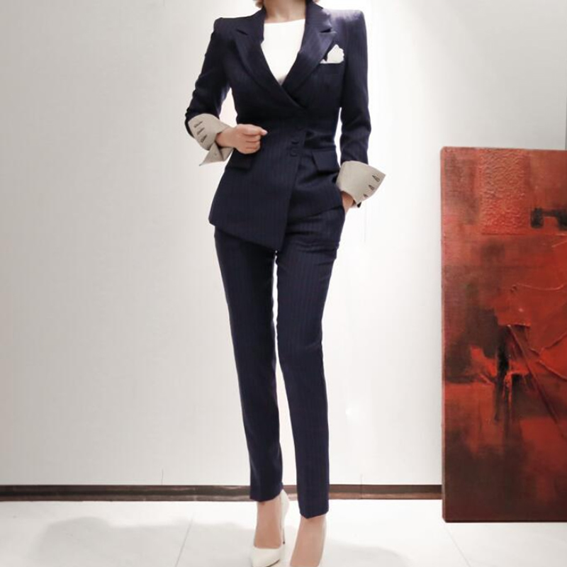 2019 Office Work Suits Striped Slim OL Blazer Coat Long Pencil Pant Suits Women Autumn Casual Two Pieces Clothing Sets Navy
