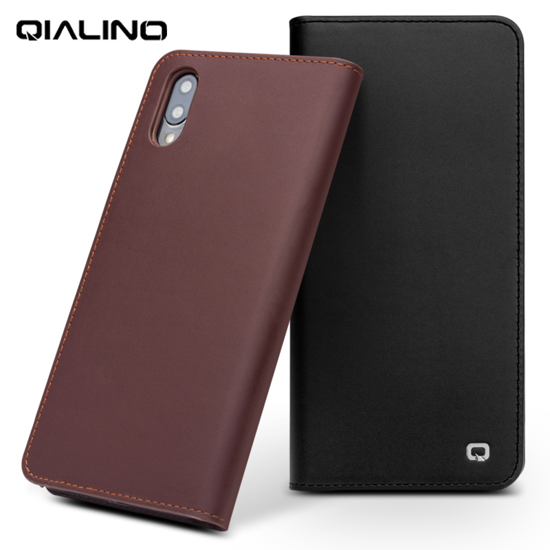 QIALINO Genuine Leather Fashion Flip Case for Vivo NEX Business Style Luxury Slim with Card Slots Wallet Phone Cover for VivoNEX