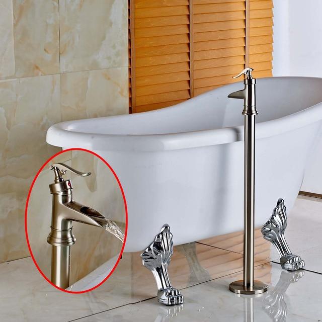 Modern Brushed Nickel Free Standing Bathroom Tub Faucet Bathtub ...