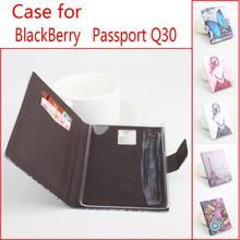 HongBaiwei Cases For Blackberry Passport Q30 Printed Butterfly Flower Flip Leather Phone Case Cover with Stand Card Slot Holder