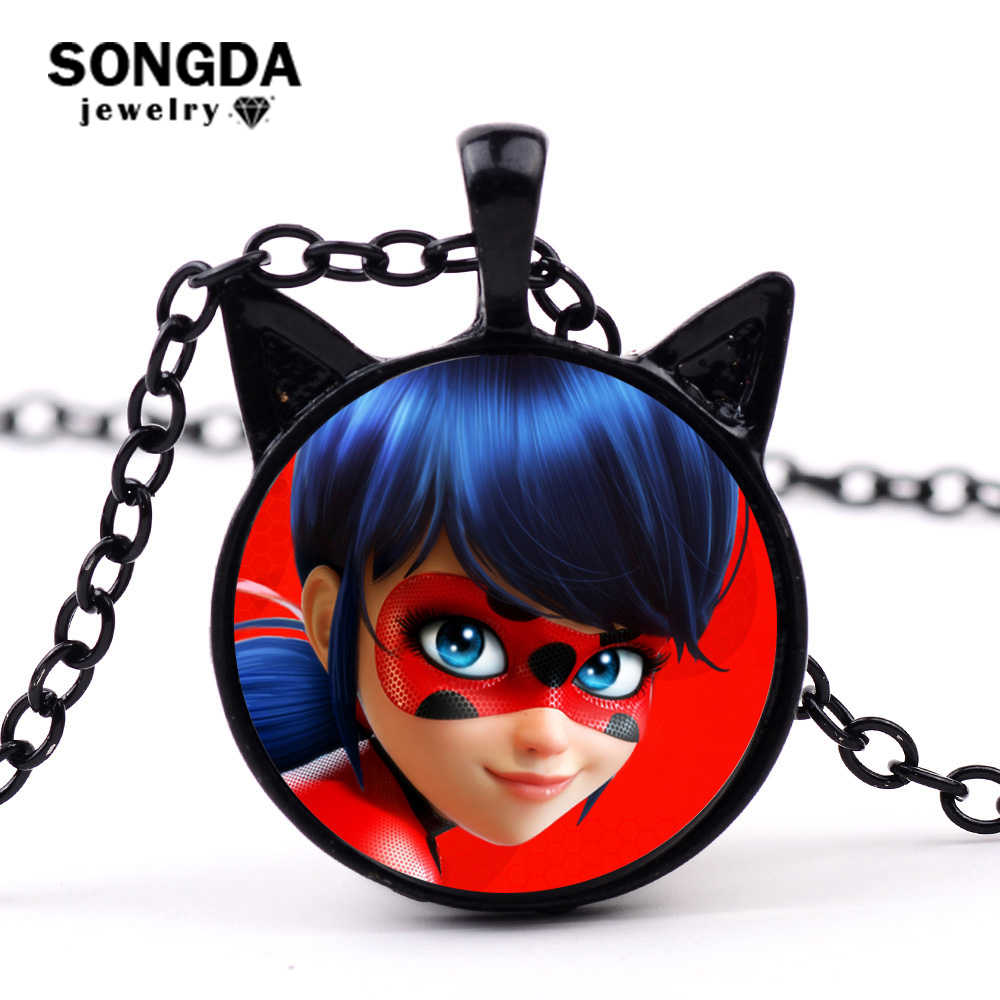 SONGDA 2018 New Arrival Magical Ladybug Necklace Adrien Marinette Lady Bug Cat Noir Cartoon Figure Super Cute Ears Anime Pendant