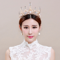 Baroque crowns with earrings Retro crystal Bridal crown Queen bride wedding hair accessories big white Wedding tiara