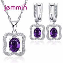 Jemmin Trendy Purple Austrian Crystal 925 Sterling Silver Necklace Earrings Sets For Woman Engagement Wedding Bridal Jewelry Set