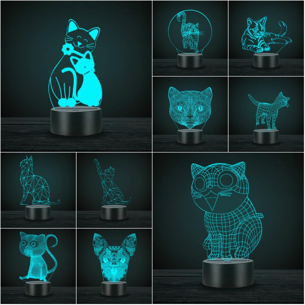 Cute Kawaii Cat 3D Lamp Animal Night Light LED USB Mood Gadgets Multicolor Luminaria Desk Table Lampara For Kids Children's Gift