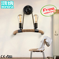 American Vintage Bar Counter Ofhead Double Slider Iron Hemp Rope Wall Lamp