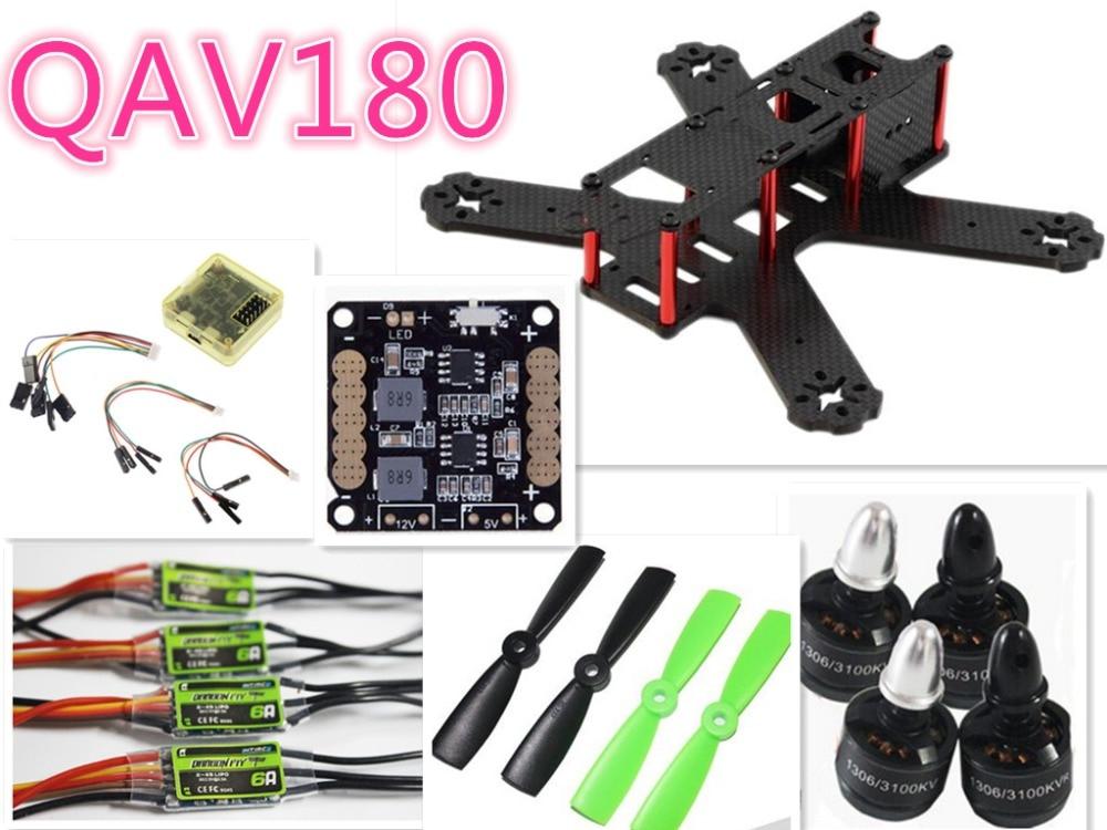 DIY QAV180 Carbon Fiber FPV Quadcopter Frame Kit 1306 Motor 6A ESC CC3D F3 4045 Propeller BEC 5V 12V ultra light 110g few 250 carbon fiber fpv quadcopter frame for 2204 motor 12 esc cc3d flight controller