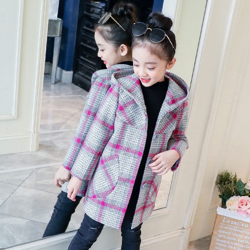 Hooded Girls Woolen Coat Autumn New 2018 Baby Girl Korean Winter Coat Girls Warm Thick Hooded Plaid Kids Wool Windbreaker CA078