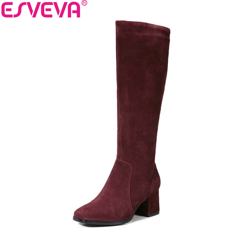 Zipper Taille Chaussures vin Rouge 39 Peluche Noir Genou Femmes Court D'hiver 2019 Bout Haute En 34 Bottes Esveva Talons Carré Automne E4ZOqRHw