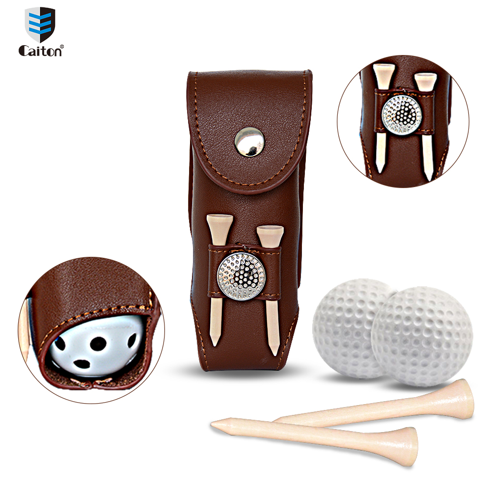 Caiton small golf ball bag Outdoor Golfers Gift Set Golf Accessories Tool Kit Set contains 2 Golf Tees 3 Golf Balls