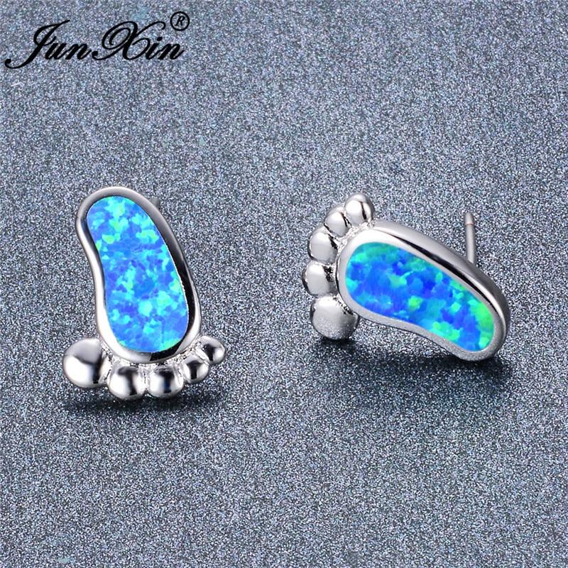 JUNXIN White Gold Filled Cute Feet Stud Earrings For Women Girls Blue White Fire Opal Earrings Wedding Jewelry Accessories