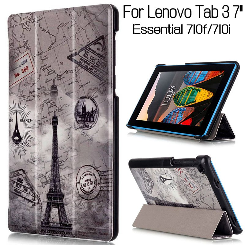 Magnetic Stand Flip Case For Lenovo Tab 3 Essential 710f 710i 7.0 Tablet Case Funda Cover+Free Screen Protector+Pen for lenovo tab 2 a7 30 2015 tablet pc protective leather stand flip case cover for lenovo a7 30 screen protector stylus pen