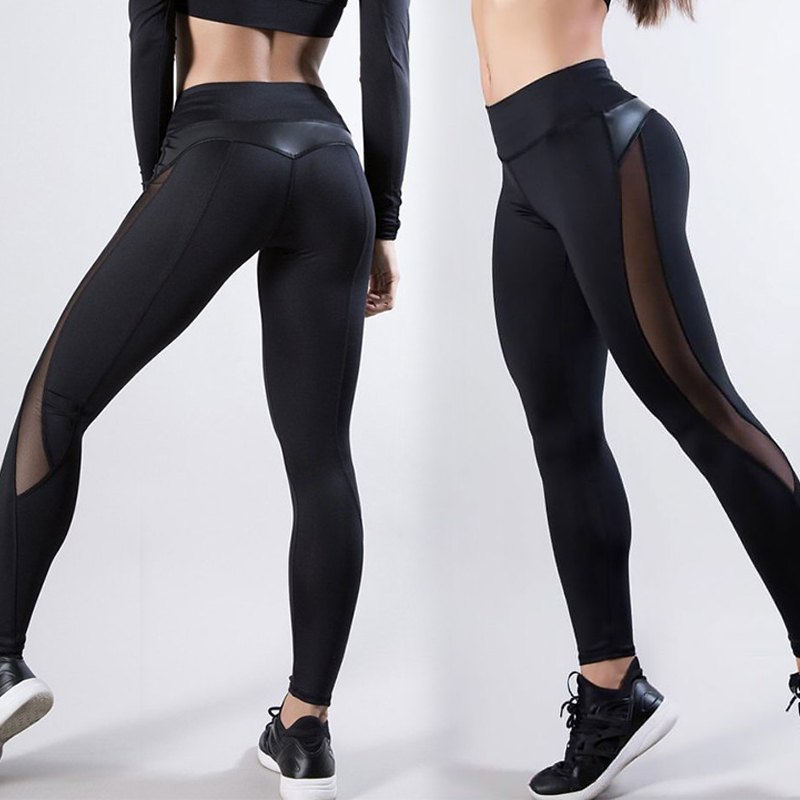 Sexy Women's Gym Fitness Black Leggings Running Sports Breathable Compression High Waist Exercise Mesh Dry Quick Jogging Pants