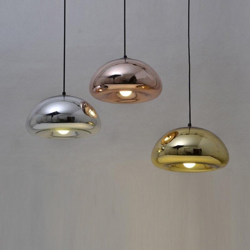 €46.77 15% de réduction|Lampe Suspension moderne salle de bain miroir  lumière verre argenté miroir abat jour boule Suspension lampe led miroir  lampe ...