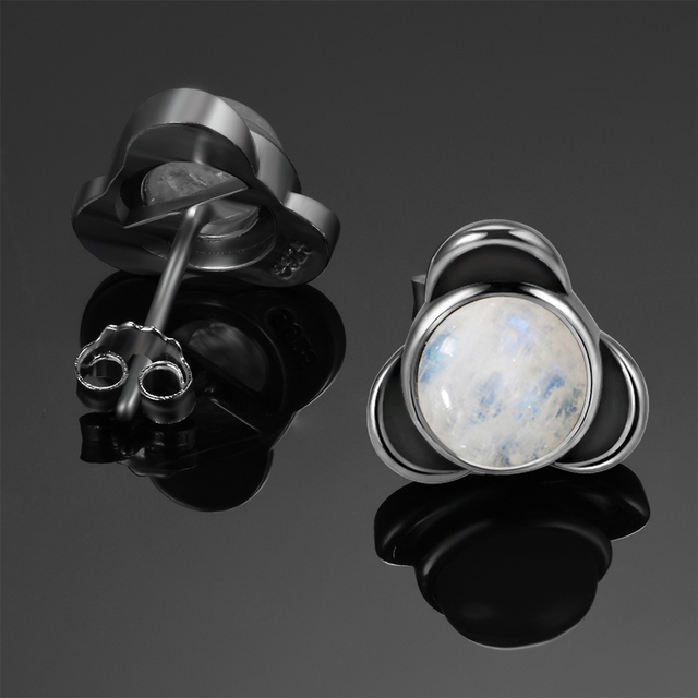 Elegant Round Natural Moonstone Stud Earrings 925 Sterling Silver Jewelry For Women Wedding Engagement Party Anniversary