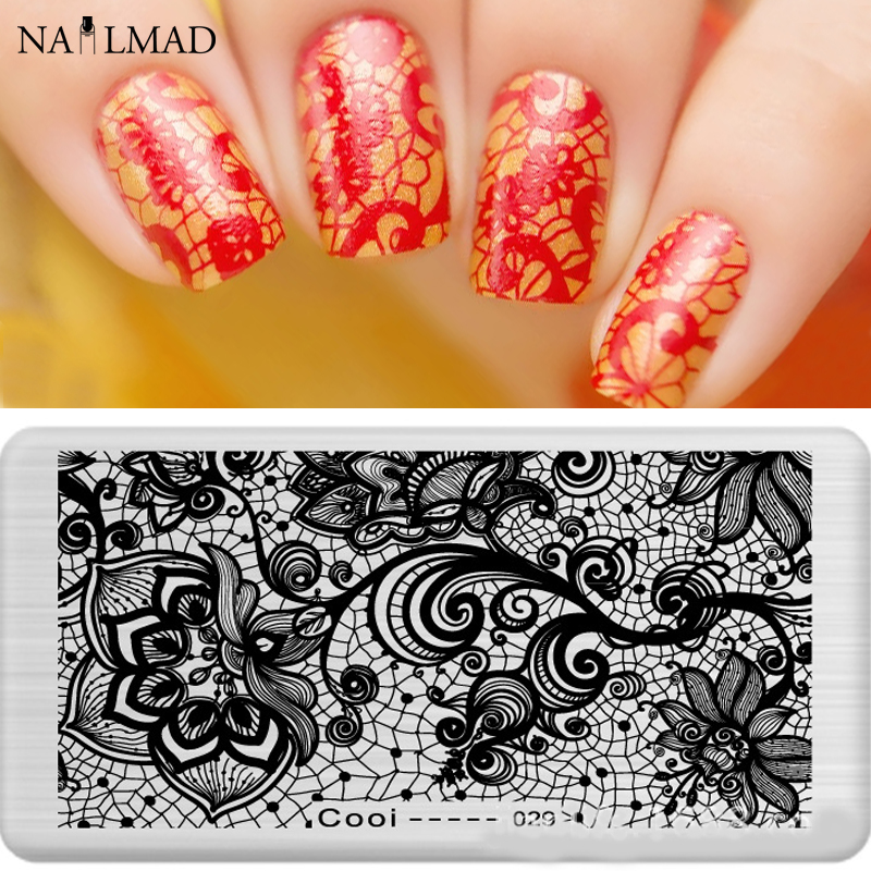 1pc Lace Nail Art Stamping Template Illusion Stamping Plate Watermarble Fish Scale Stamp plate Nail Stamping Tools
