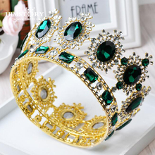Luxury Sparkling Big Round Crystal Queen Crown Bridal Pageant Prom Large Tiara Crown Headdress Wedding Hairband Hair Accessories high quality princess large full circle rhinestones queen pageant crown prom or wedding party tiara crown