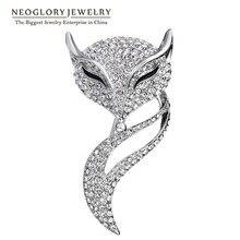 Neoglory, стразы, животный дизайн, лиса, модные броши для женщин, очаровательные ювелирные изделия, аксессуары, бренд BR1 QC