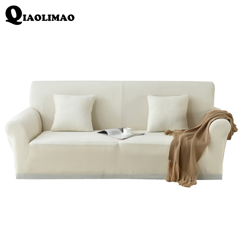 White Stretch Spandex Single-seat / Double-seat /Sectional Sofa Cover Solid color Funda Sofa Sofa-slip Cover Capa de Sofa Canape