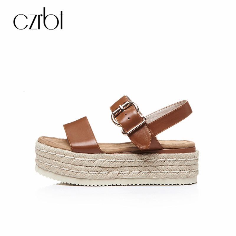 CZRBT Women Summer Sandals Straw Gladiator Open Toe Ladies Flat Shoes Genuine Leather Fish Mouth Thick Bottom Female Sandals pudcoco baby girls dress toddler girls backless lace bow princess dresses tutu party wedding birthday dress for girls easter