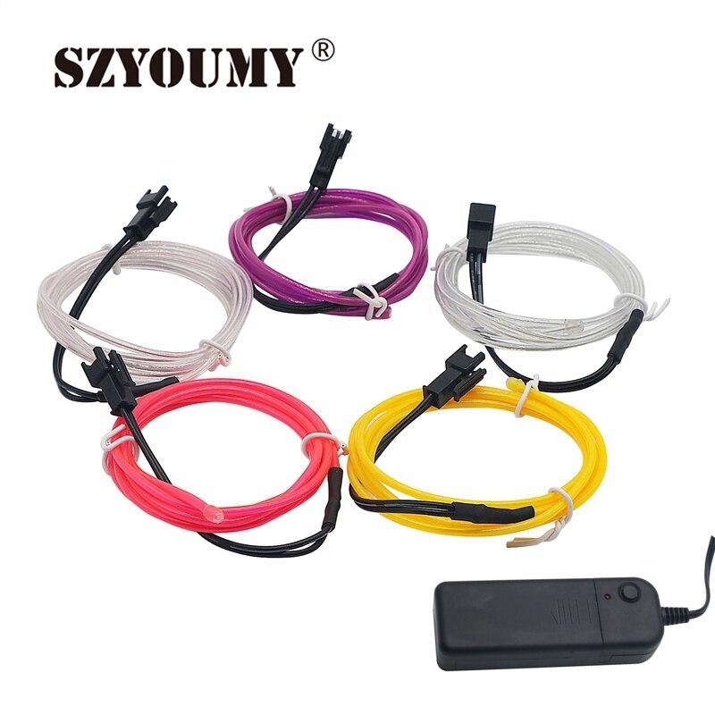 Szyoumy 1 м/2 м/3 м/5 м Водонепроницаемый Светодиодные ленты неоновый свет свечение EL Провода веревка Tube кабель + Батарея контроллер для украшения …