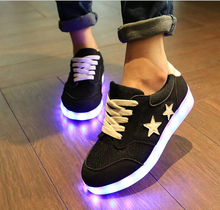 Black gray Newest Simulation LED shoes for adults Women's Fashion Casual shoes Men/Women High Quality USB led Shoes