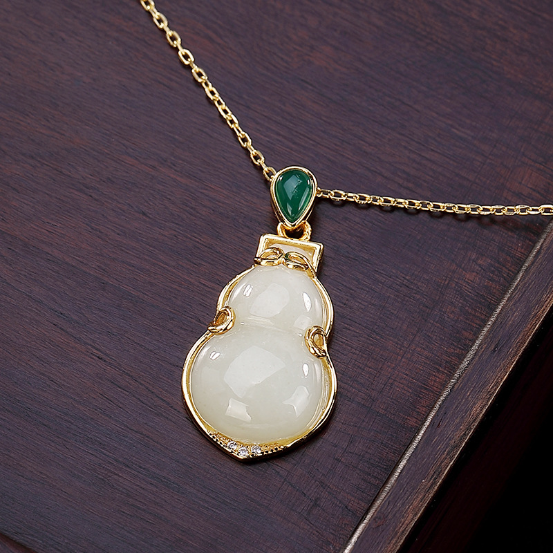 L&P 925 Sterling Silver Hetian Jade Drop Pendant Necklace for Woman Elegant Fashion Yellow Gold Color Necklace Fine JewelryL&P 925 Sterling Silver Hetian Jade Drop Pendant Necklace for Woman Elegant Fashion Yellow Gold Color Necklace Fine Jewelry