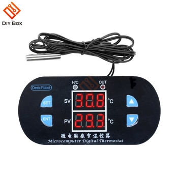 W1308 Digital Thermostat Temperature Sensor Controller 12V 10A NTC10K Red Dual Display Adjustable -50~120 Celsius Sensor Control w88 12v 220v 10a digital led temperature controller thermostat control switch sensor 2019
