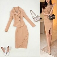 Hot new fashion women suits slim work wear office ladies long sleeve blazer skirt suits costumes for women with skirt