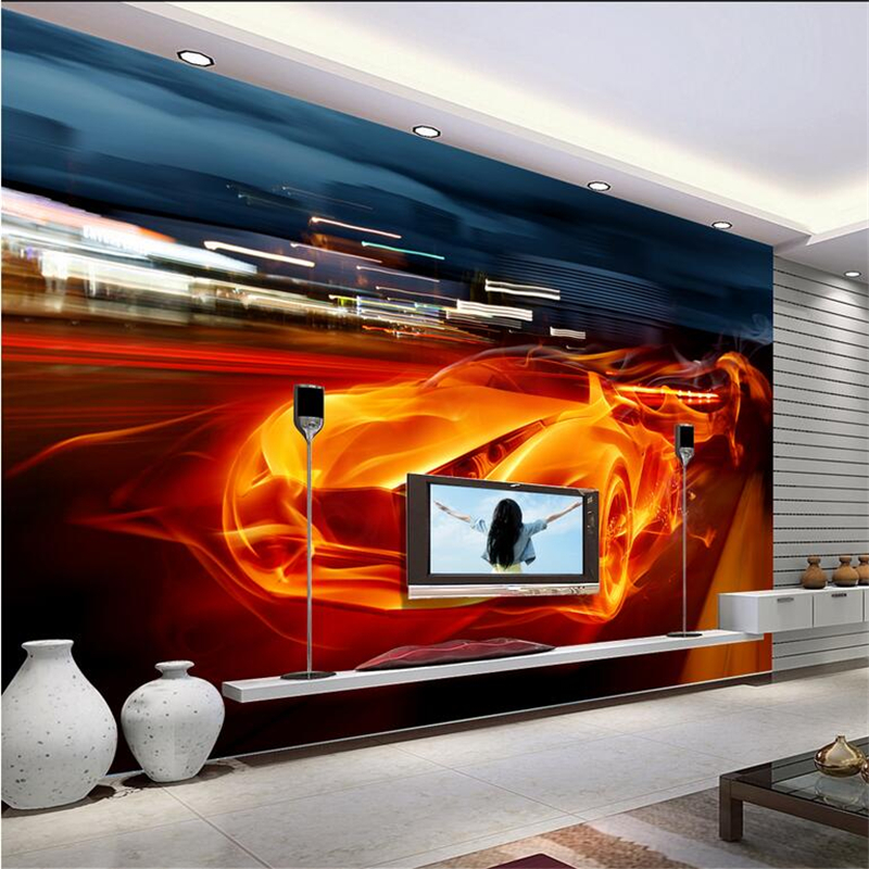 Custom 3d Photo Wall Paper Car Modern Wallpaper Environment Friendly TV Background Restaurant Study Kitchen Bedroom Living Room shinehome black white cartoon car frames photo wallpaper 3d for kids room roll livingroom background murals rolls wall paper