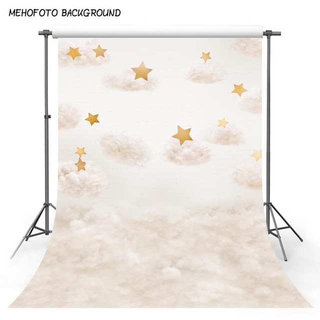 MEHOFOTO Vinyl Photography Backgrounds Gold Star Cotton Clouds Birthday Children Photocall Photographic Backdrop Photo Studio