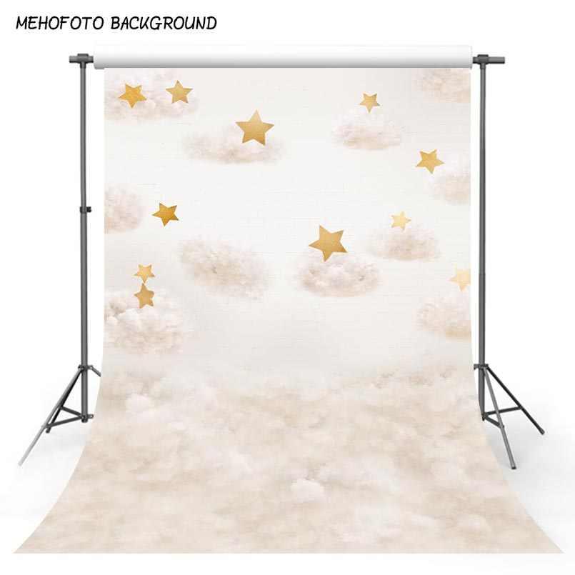 MEHOFOTO Виниловый фон для фотосъемки Золотая звезда хлопок облака День рождения Дети фон для фотографий фон для фотостудии