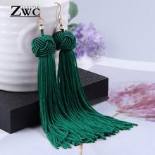 ZWC, винтажные этнические длинные висячие серьги с кисточками для женщин, женские модные серьги с бахромой в богемном стиле, Женские Висячие серьги, ювелирное изделие