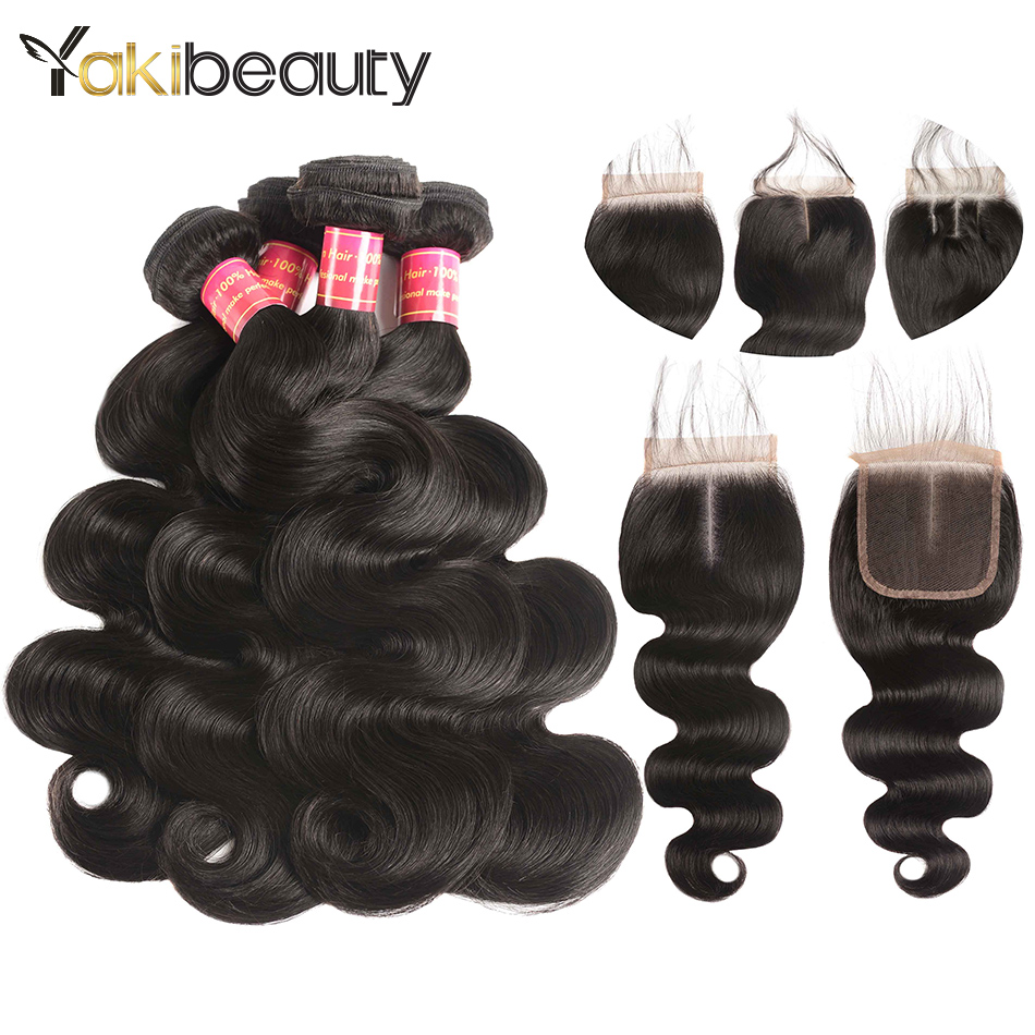 4 Bundles With Closure Peruvian Body Wave With Closure Remy Human Hair Lace Closure with Bundles 5Pcs/Lot Yakibeauty Hair Weave
