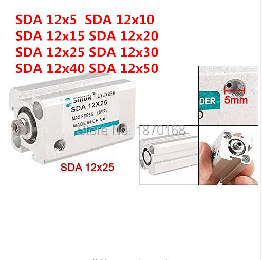 SDA Type Aluminum Alloy Compact Pneumatic Cylinder 32mm Bore 5/10/15/20/25/30/40/50mm Stroke Thin Air Cylinder free shipping 50mm bore 25mm stroke pneumatic compact cylinder double action sda 50 25 aluminum alloy thin type air cylinders