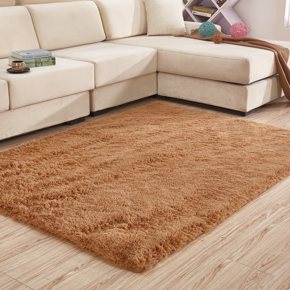 Tapis Shaggy Orange 200 300 Cm Grand Tapis Shaggy Solide Doux Tapis En Peluche Et