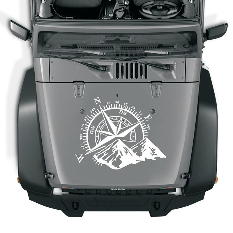 Художественный дизайн виниловые наклейки на машину горы NSWE Компас Навигация автомобиль внедорожный капюшон наклейка авто модное украшени...